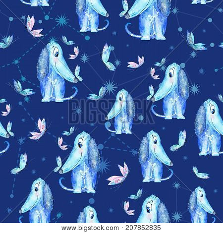 Indigo blue Seamless watercolor texture with funny puppy characters and constellation silhouettes on night background