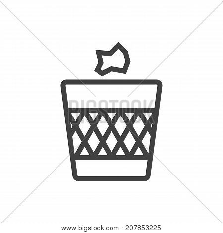 Vector Wastebasket Element In Trendy Style.  Isolated Urn Outline Symbol On Clean Background.