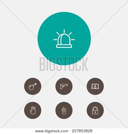 Collection Of Dynamite, Alarm, Lock And Other Elements.  Set Of 7 Procuring Outline Icons Set.