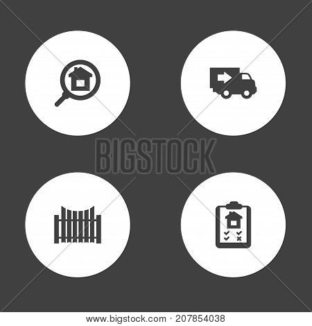 Collection Of Barrier, Mortgage, Truck And Other Elements.  Set Of 4  Icons Set.