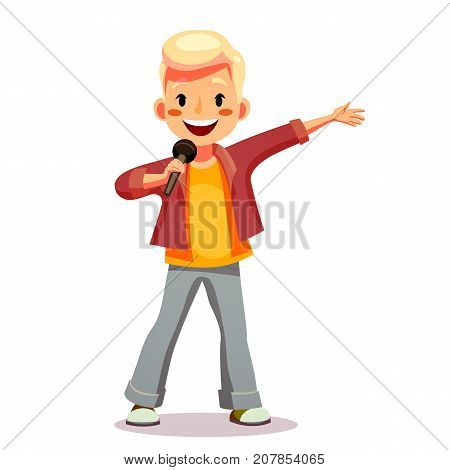 Cute boy sings a song into the microphone. Talented child involved in the competition performs in concert sings karaoke. Funny cartoon character. Isolated on white background. Vector illustration.