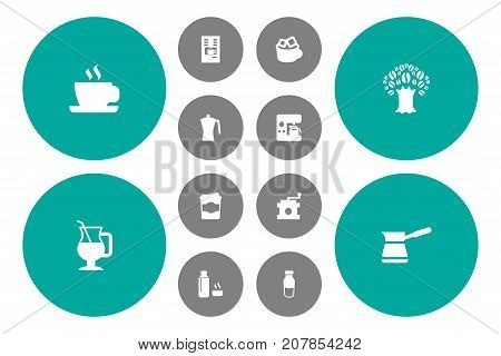 Collection Of Espresso Dispenser, Iced Mocha, Cappuccino And Other Elements.  Set Of 12 Drink Icons Set.