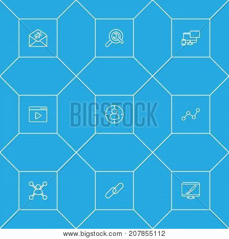 Collection Of SEO Test, Targeting, Video Marketing And Other Elements.  Set Of 9 Engine Outline Icons Set.