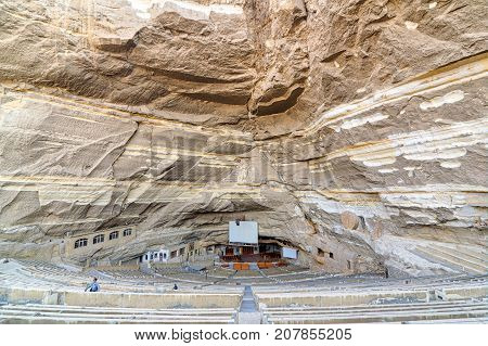 Cairo, Egypt - December 18 2016: Virgin Mary and St. Simon the Tanner Cathedral. The biggest church of seven churches of Saint Samaan The Tanner Monastery hidden in a series of caves in Mokattam hills