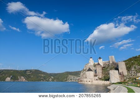 GOLUBAC SERBIA - SEPTEMBER 21 2017: Golubac Fortress (Golubacka trvdjava or Goluback Grad) taken during a sunny afternoon. The Golubac Castle was a medieval fortified town on the Danube River 4 km downstream from the current city of Golubac