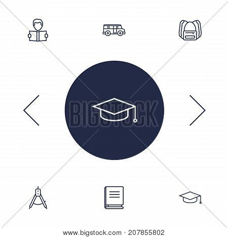 Collection Of Compass, Graduation Cap, Bus And Other Elements.  Set Of 6 Studies Outline Icons Set.