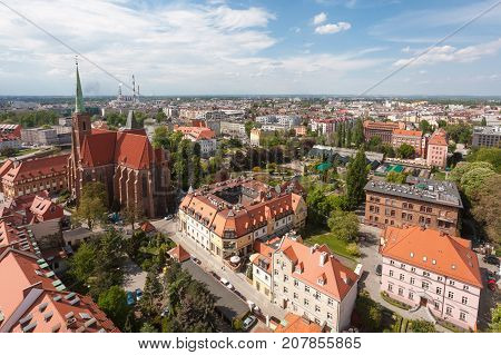 Old town cityscape panorama Wroclaw Poland top view