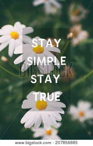 Inspirational And Motivational Quotes - Stay Simple Stay True. Blurry Retro Style Background.