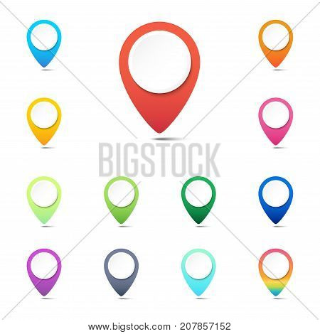 Set of colorful navigation pins GPS location icons or web button pointers on white background Vector illustration