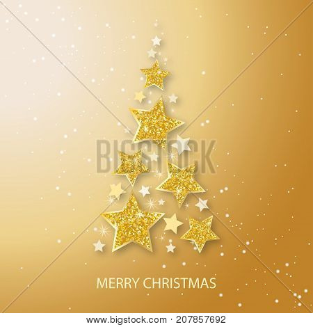 Vector christmas abstract fir tree of shining golden stars. Glowing Glitter background with stars of gold volumetric design. Xmas and new year invitation template.