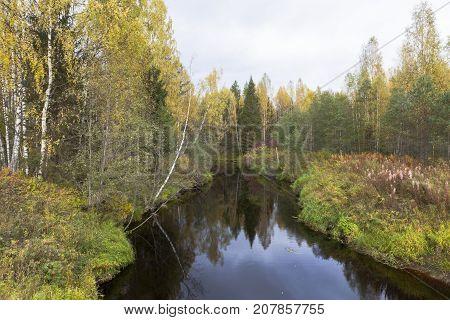 Autumn Landscape with the River Kolenga in Verkhovazhsky District, Vologda Region, Russia