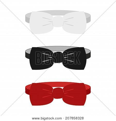 White, black and red classic garment butterfly bow tie set icon - vector