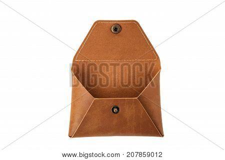 leather rectangular envelope on white isolated background