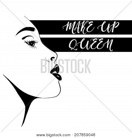 Vector beautiful woman face. Beauty blogger illustration isolated on white background.Fashion face make up queen. Portrait line art banner. Cosmetology model with sexy black lips