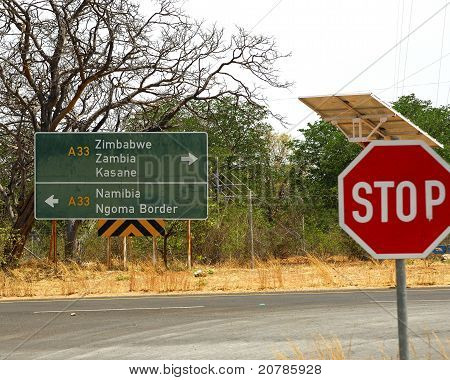Directional sign at road, Botswana