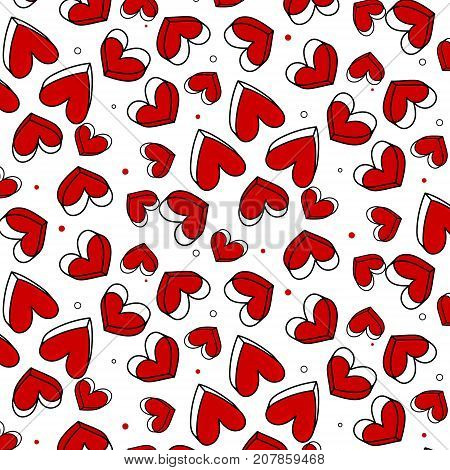 Vector romantic pattern, polka dot with red heart. Can be used for wallpaper, pattern fill, web page background, surface texture.Simple repeating texture with chaotic hearts. Stylish hipster print.