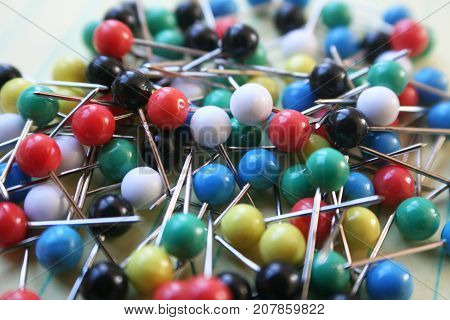 Colored Map Push Pins Close Up High Quality Stock Photo
