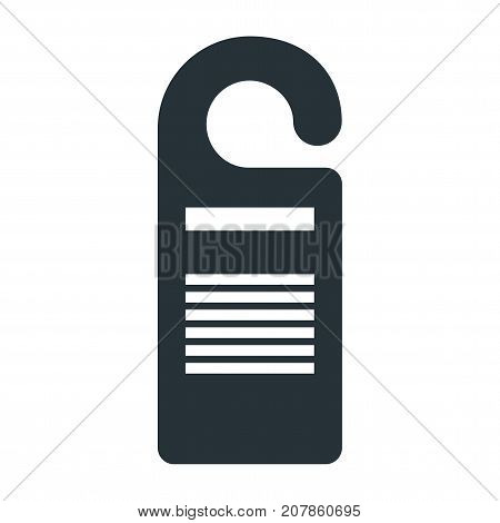 Vector door hanger black icon. Do not disturb hotel signs. Flat vector cartoon illustration. Objects isolated on a white background.