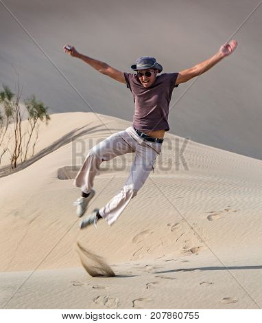 Man Kicks His Heels Up