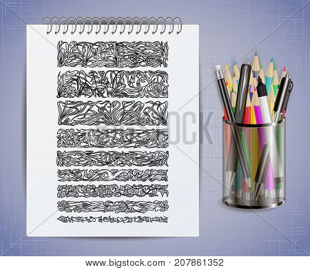 Illustration of notebook with floral borders colored pencils pens and marker in holder