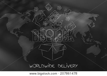 Parcel With Fashion Objects Coming Out Of It Over World Map Overlay
