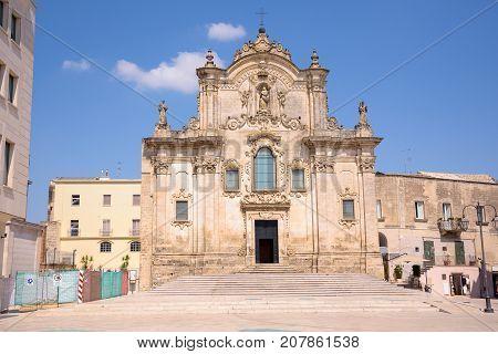 Facade of the Church of Saint Francis of Assisi in Matera Basilicata Italy