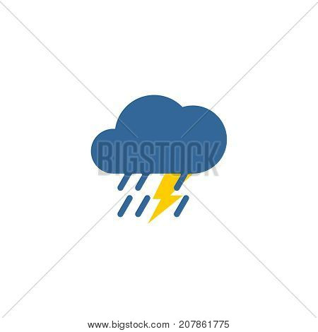Vector weather thunderstorm flat style symbol icon illustration isolated on a white background