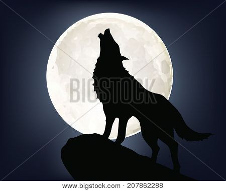 Background - Howling alone wolf on full moon