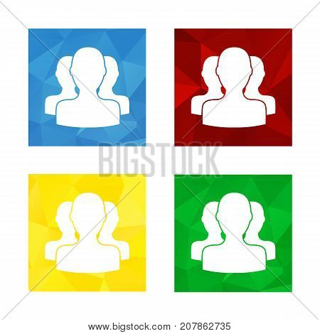 Colorful triangular low poly button in square shape with flat icon representing social person group society people profile etc.