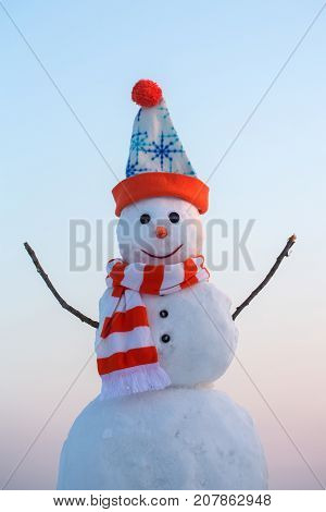 New Year Snowman From White Snow Outdoor.