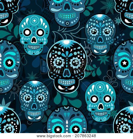 Day of The Dead colorful sugar skull with floral ornament and flower seamless pattern. Dia de los muertos the pattern is made in bright colors colorful skulls for the holiday of the dead