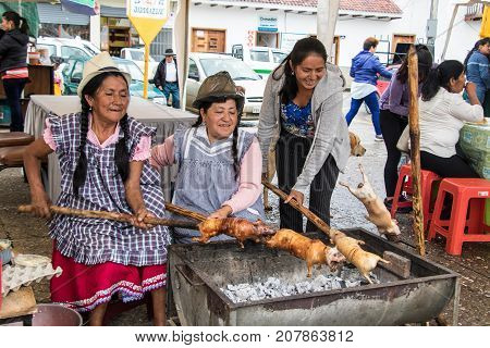 Vendors Prepare Cuy (guinea Pig) For Lunch