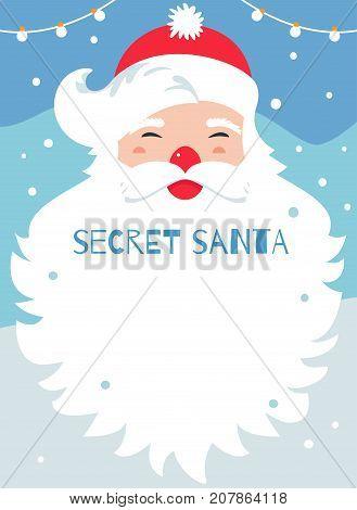 Secret Santa Present Exchange Game Vector Poster.
