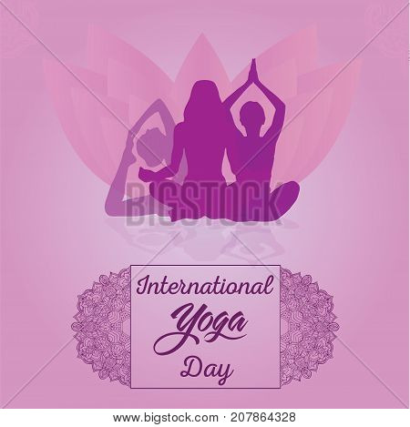 International Yoga Day, 21st June. Woman doing asana for world yoga day illustration vector.