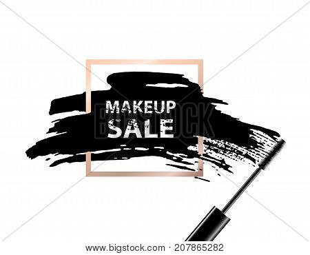 Makeup sale banner. Makeup sale text on dark background and golden frame. Vector illustration.