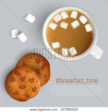 Cup of coffee with marshmallow and cookies with chocolate. Top view. Cup of coffee and cookies for breakfast, isolated vector illustration.