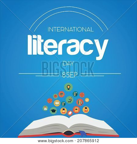 International Literacy Day, 8th September. Open book logo illustration vector.