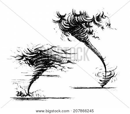 Tornado. Vector sketch hand-drawn style. Isolated on white background landscape.