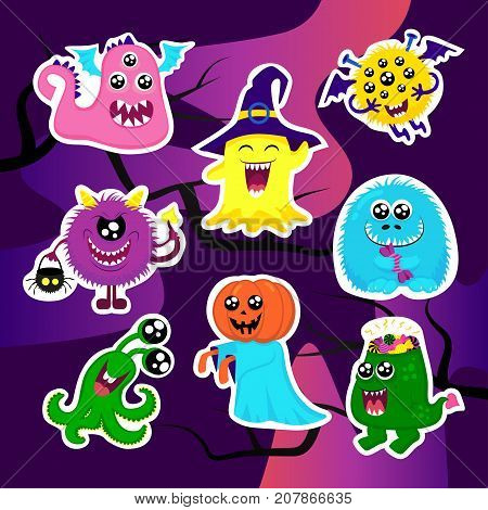 Fashion hallowen patch badges with halloween monsters pumpkin ghost fuzzy. Very large set of girlish and boyish halloween stickers patches in cartoon isolated.Trendy halloween print for backpacks thingsclothes
