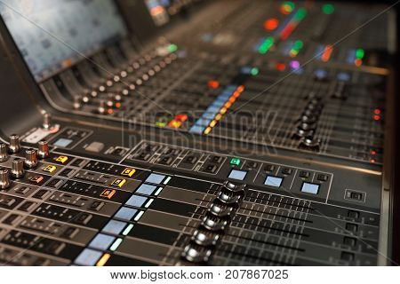 Close up of live sound mixing console. Selective focus.