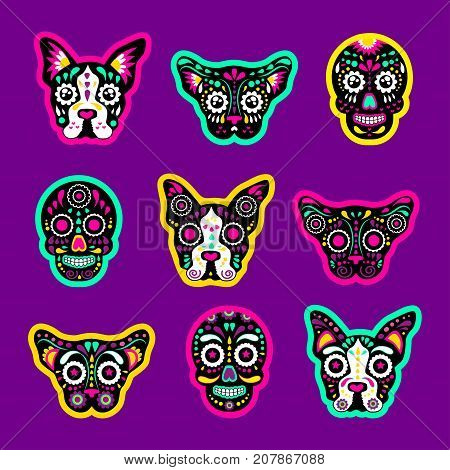 Fashion patch badges with sugar skull dog and cat day of the dead Very large set of girlish and boyish stickers patches in cartoon isolated.Trendy print for backpacks thingsclothes