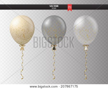 Realistic transparent helium set of balloons with confetti isolated in the air. Party balloons for event design. Party decorations for birthday, anniversary, celebration. Shine transparent balloon