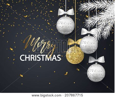 Merry Christmas and Happy New Year background for holiday greeting card, invitation, party flyer, poster, banner. Silver, gold, shiny tree balls, white fir branches and confetti. Vector illustration