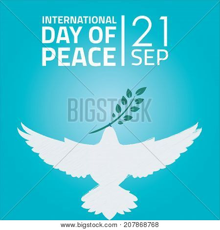 International Day of Peace, 21 September. White dove bird conceptual illustration vector.