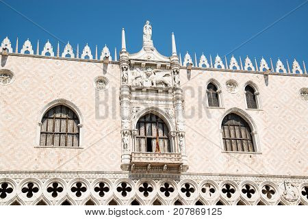 Architectural details facade of Doge's Palace (Palazzo Ducale) Venice Italy