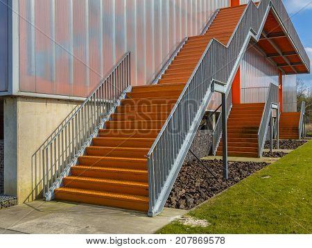 Orange Emergency Exit Stairs
