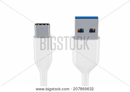 White USB-C charging data cable type C male to type A male. 3D rendering
