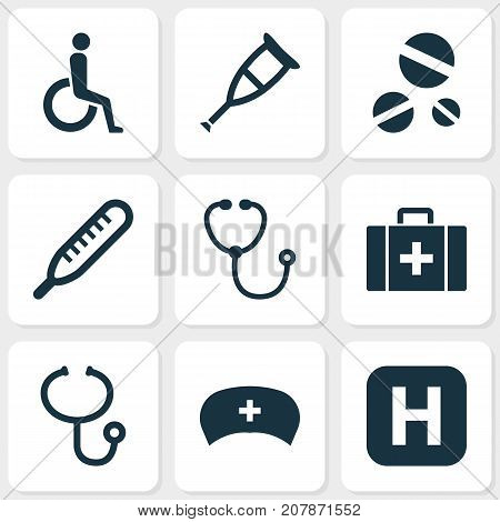 Drug Icons Set. Collection Of Handicapped, Chest, Review Elements