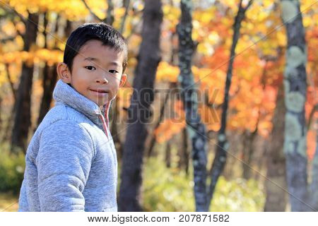 Japanese Boy And Autumn Leaves (first Grade At Elementary School)