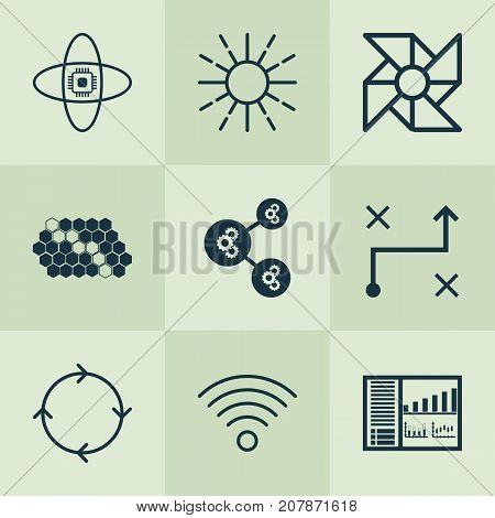 Learning Icons Set. Collection Of Laptop Ventilator, Wireless Communications, Recurring Program And Other Elements